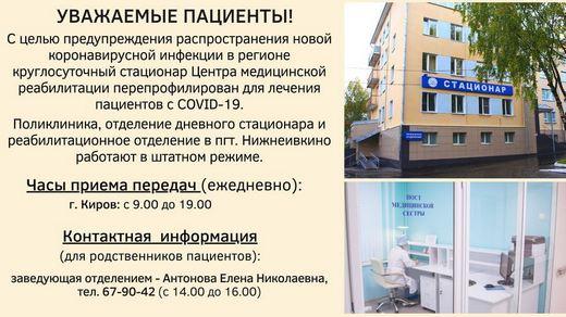 Режим работы отделений по лечению covid-19 ЦМР
